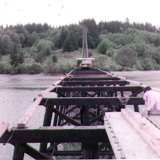 Raft Island Bridge Piling Bents Constuction in 1958