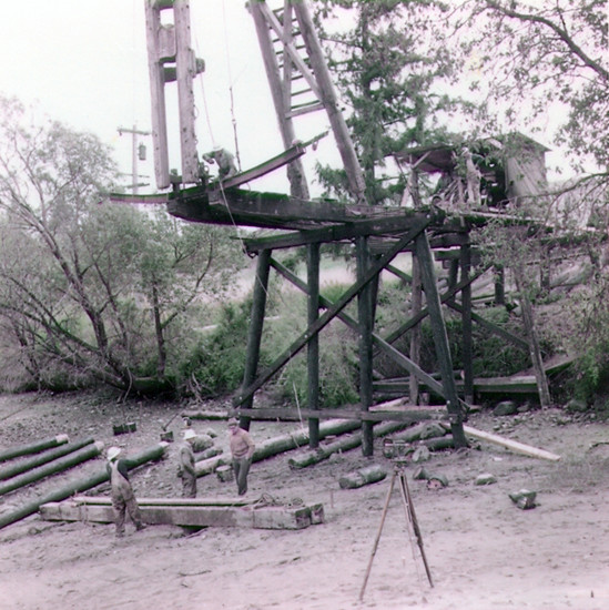 Pile Driving of Raft Island Bridge in 1958